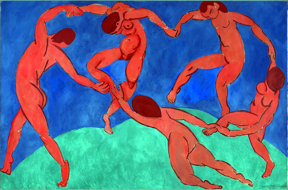 Author:Matisse, Henri. 1869-1954.Title:Dance.Place:France.Date:1909-1910. Material:canvas. Technique:oil.Dimensions:260x391 cm. Acquisition date:Entered the Hermitage in 1948